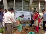 Prof. R. Ramanibai (head & Campus Director) Department of Zoology, University of Madras, Guindy Campus & RJ Shakthi (Radio City 91.1FM) planting Sapling in University Campus