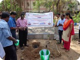 Mr. G. Karuna Sagaran, Scientist - D, ENVIS Centre, Department of Zoology, University of Madras, Guindy Campus planting Sapling.