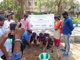 Mr. G. Karuna Sagaran, Scientist - D, ENVIS Centre  & Students, Department of Zoology, University of Madras, Guindy Campus planting Sapling.
