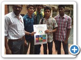 Loyola College Students collect the Environment  awareness poster form Dr. G. Karunasagaran, Scientiest - D, ENVIS Centre